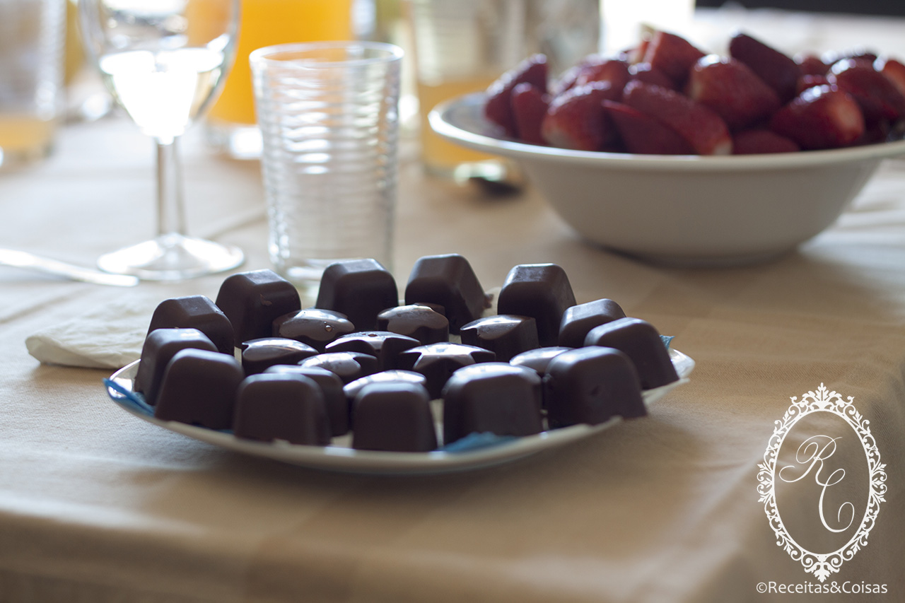 Gluten free chocolate candies with strawberry filling